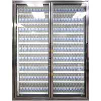 Styleline CL2472-2020 20//20 Plus 24 inch x 72 inch Walk-In Cooler Merchandiser Doors with Shelving - Anodized Bright Silver, Left Hinge - 2/Set