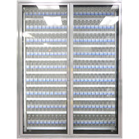 Styleline CL2472-2020 20//20 Plus 24 inch x 72 inch Walk-In Cooler Merchandiser Doors with Shelving - Anodized Satin Silver, Left Hinge - 2/Set