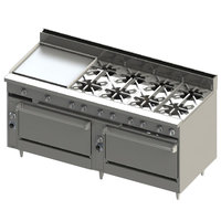 Blodgett BR-24GT-8-3636C-LP Liquid Propane 8 Burner 72 inch Thermostatic Range with 24 inch Left Griddle, 1 Convection Oven, and 1 Standard Oven - 348,000 BTU