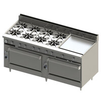Blodgett BR-8-24GT-3636C-LP Liquid Propane 8 Burner 72 inch Thermostatic Range with 24 inch Right Griddle, 1 Convection Oven, and 1 Standard Oven - 348,000 BTU