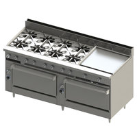 Blodgett BR-8-24G-3636-LP Liquid Propane 8 Burner 72 inch Manual Range with 24 inch Right Griddle and Double Standard Oven Base - 348,000 BTU