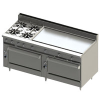 Blodgett BR-4-48G-3636-NAT Natural Gas 4 Burner 72 inch Manual Range with 48 inch Right Griddle and Double Standard Oven Base - 276,000 BTU