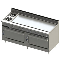 Blodgett BR-2-60G-3636C-LP Liquid Propane 2 Burner 72 inch Manual Range with 60 inch Right Griddle, 1 Convection Oven, and 1 Standard Oven - 240,000 BTU