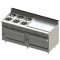 Blodgett BR-6-36G-3636-NAT Natural Gas 6 Burner 72 inch Manual Range with 36 inch Right Griddle and Double Standard Oven Base - 312,000 BTU