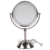 Conair BE119WH 8 1/2 inch Satin Nickel Freestanding LED Lighted Vanity Mirror with On / Off Switch