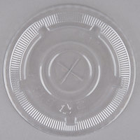 Choice 32 oz. Clear Plastic Flat Lid with Straw Slot   - 500/Case