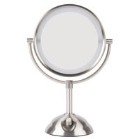 Conair BE103WH 8 1/2 inch Satin Nickel Freestanding LED Lighted Vanity Mirror with 4 Setting Dial