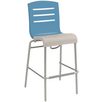 Grosfillex US510196 Domino Storm Blue / Linen Indoor Stacking Bar Stool with Linen Seat - 8/Case