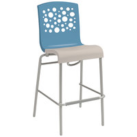 Grosfillex US031196 Tempo Storm Blue / Linen Indoor Stacking Bar Stool - 2/Pack