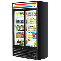 True GDM-41SL-LD Black Slim Line Refrigerated Sliding Glass Door Merchandiser - 33 Cu. Ft.