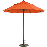 Grosfillex 98801931 Windmaster 9' Orange Fiberglass Umbrella with 1 1/2 inch Aluminum Pole