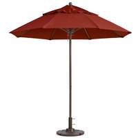 Grosfillex 98818231 Windmaster 9' Terra Cotta Fiberglass Umbrella with 1 1/2 inch Aluminum Pole
