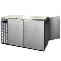 Continental Refrigerator BBUC59-SS-PT 59 inch Stainless Steel Solid Door Pass-Through Undercounter Back Bar Refrigerator