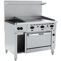 Vulcan 48S-2B36GTP Endurance Liquid Propane 2 Burner 48 inch Range with 36 inch Thermostatic Griddle, Standard Oven, and 12 inch Cabinet Base - 155,000 BTU