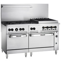 Vulcan 60SS-6B24CBN Endurance Natural Gas 6 Burner 60 inch Range with 24 inch Charbroiler and 2 Standard Ovens - 302,000 BTU