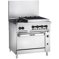 Vulcan 36S-2B24CBN Endurance Natural Gas 2 Burner 36 inch Range with 24 inch Charbroiler and Standard Oven Base - 159,000 BTU