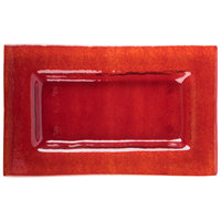 Cardinal Arcoroc FG937 Tiger 10 inch x 6 inch Red Glass Rectangular Plate - 16/Case