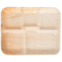 TreeVive by EcoChoice 8 1/2 inch x 10 1/2 inch Biodegradable, Compostable Palm Leaf 5 Compartment Lunch Tray - 100/Case