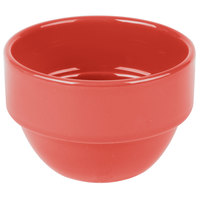 Syracuse China 903045370 Cantina 8 oz. Cayenne Uncarved Porcelain Stackable Bouillon Bowl - 36/Case