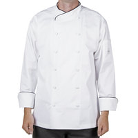 Mercer M62020WB2X Renaissance Men's 52 inch XXL White Double Breasted Scoop Neck Chef Jacket With Black Piping