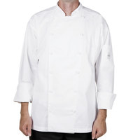 Mercer M62030WHL Renaissance Men's 44 inch Large White Double Breasted Traditional Neck Chef Jacket