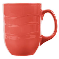 Syracuse China 903034004 Cantina 11 oz. Cayenne Carved Porcelain Mug - 12/Case