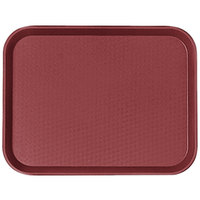 Cambro 1014FF416 10 inch x 14 inch Cranberry Customizable Fast Food Tray - 24/Case