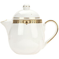 Syracuse China 911191040 Baroque 15 oz. Bone China Tea Pot with Lid - 12/Case