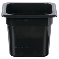 1/6 Size Black Polycarbonate Food Pan - 6 inch Deep