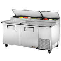 True TPP-67 67 inch Refrigerated Pizza Prep Table with Topping Catcher