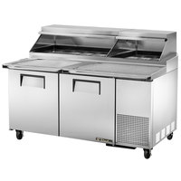 True TPP-67 67 inch Refrigerated Pizza Prep Table with Topping Catcher and Telescoping Hood