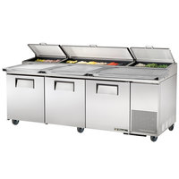 True TPP-93 93 inch Refrigerated Pizza Prep Table with Topping Catcher