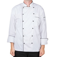 Mercer M62090WBM Renaissance Men's 40 inch M White Double Breasted Traditional Neck Chef Jacket with Full Black Piping