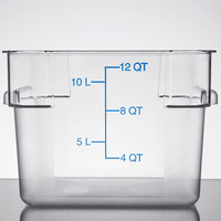 Carlisle 1072407 12 Qt. Clear Square StorPlus Container with Blue Graduations