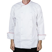 Mercer M62015WRXS Renaissance Men's 32 inch XS White Double Breasted Scoop Neck Jacket With Red Piping