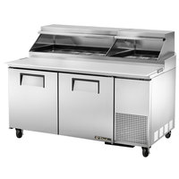 True TPP-67 67 inch Refrigerated Pizza Prep Table with Telescoping Hood