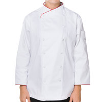 Mercer M62045WR3X Renaissance Women's 49 inch XXXL White Double Breasted Scoop Neck Chef Jacket with Red Piping