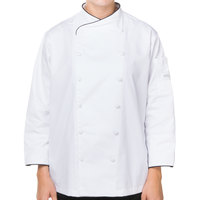 Mercer M62050WB1X Renaissance Women's 41 inch XL White Double Breasted Scoop Neck Chef Jacket with Black Piping