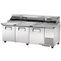 True TPP-93 93 inch Refrigerated Pizza Prep Table with Topping Catcher and Telescoping Hood