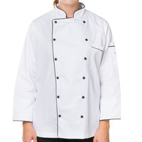Mercer M62095WB1X Renaissance Women's 41 inch XL White Double Breasted Traditional Neck Chef Jacket with Full Black Piping