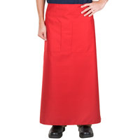 38 inch x 33 1/2 inch Red Two Pocket Poly-Cotton Bistro Apron