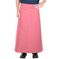 38 inch x 33 1/2 inch Mauve Two Pocket Poly-Cotton Bistro Apron