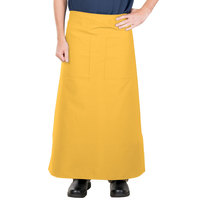 38 inch x 33 1/2 inch Gold Two Pocket Poly-Cotton Bistro Apron