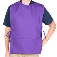 29 inch x 17 1/2 inch Purple Poly-Cotton Cobbler Apron with Two Pockets