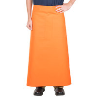 38 inch x 33 1/2 inch Orange Two Pocket Poly-Cotton Bistro Apron