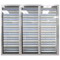 Styleline ML2475-LT MOD//Line 24 inch x 75 inch Modular Walk-In Freezer Merchandiser Doors with Shelving - Bright Silver Smooth, Right Hinge - 3/Set