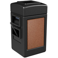 Commercial Zone 755114 28 Gallon Islander Series Black Harbor 1 Stonetec Waste Container with Towel Dispenser and Windshield Wash Station