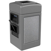Commercial Zone 755111 28 Gallon Islander Series Gray Harbor 1 Stonetec Waste Container with Towel Dispenser and Windshield Wash Station
