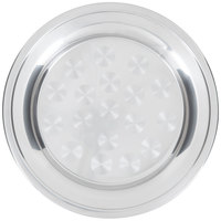 12 inch Stainless Steel Serving / Display Tray with Swirl Pattern - Wide Rim