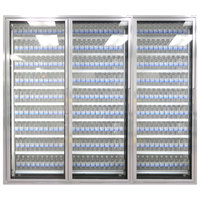 Styleline ML2475-LT MOD//Line 24 inch x 75 inch Modular Walk-In Freezer Merchandiser Doors with Shelving - Bright Silver Smooth, Left Hinge - 3/Set